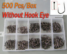 Eyeless Hooks! (500Pcs/set) #3~12 Black Fishing Hooks In Box Fresh water