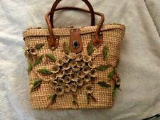 VTG 60-70s Raffia Wicker Straw Floral Tote Woven Bag W Leather Handles Purse