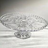 Vintage Pedestal Cake Stand Thistle & Cross Pattern Lead Crystal Dessert Plate