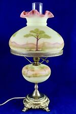 Fenton Burmese Student Lamp Hand Painted By K. Haught #813 Sept. 1973 Signed