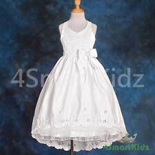 Satin White Flowergirl Flower Girl Dress Train Wedding Bridesmaid Party Sz 6 181