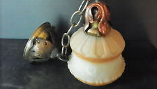 ANTIQUE PENDULUM LIGHT WITH TAN AND WHITE SATIN SHADE AND COPPER LEAVES 6129