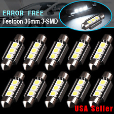 10x CANBUS Error Free 36mm 3-SMD LED Interior License Plate Light Bulb 6418 C5W