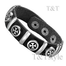 TTstyle Punk Multi- Iron Cross Black Leather Bracelet Wristband