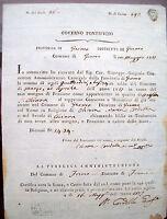1817 DOCUMENTO DA FERMO CON PENSIONE DI CORISTA DEL SOPPRESSO MONASTERO S.CHIARA