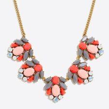 J CREW Mixed Stone Clusters Statement Necklace Fiesta Orange Grey NWT