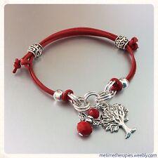 Red Leather Base Chakra Grounding Bracelet - Silver Tree Charm & Crystal Angel