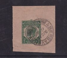 Gb 1916 King George V Stationary cut out Lovely Abergavenny Cancel
