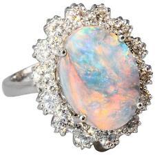 Black Opal Diamond White 18K Gold Ring