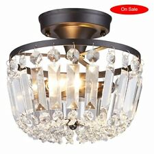Semi Flush Chandelier Light Fixture Modern Ceiling Black Crystal Mount Metal New