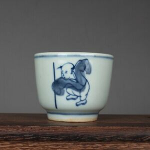2.3 inch Chinese Blue and White Porcelain Kung Fu Kid Design Teacup Cup 60 ml