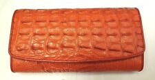 Crocodile Alligator Wallets Skin Leather Bone Trifold Women's Clutch Orange