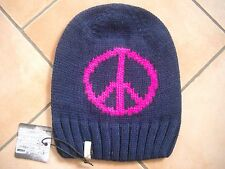 (M37) Grobstrick Mütze FREAKY HEADS Beanie Wintermütze Peace mit Logo Aufnäher