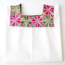 Embroidered Colorful Huipil Blouse Tunic Peasant Top M/L/XL