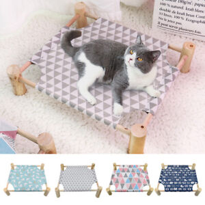Raised Pet Bed w/ Canvas Mat Wooden Frame Elevated Cat Dog Bed Hammock Basket