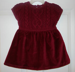 NWT Hanna Andersson Cable Sweater Knit Bodice Holiday Dress Girl's Size 70 5-12M