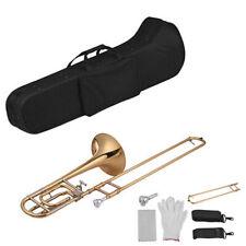 Muslady Intermediate Bb Flat Tenor Slide Trombone W/ F Attachment +Carekits J1Y9