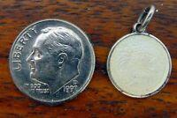 Vintage silver ST. CHRISTOPHER PROTECT US MEDAL GUILLOCHE ENAMEL PENDANT charm