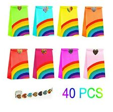 40 Pieces Rainbow Party Bags with 100 Heart Stickers Kraft Paper Favor Bag Paper