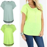 Womens Ladies Melange Direct Sleeve Round Neck HiLo Dipped Hem Baggy Mini Top
