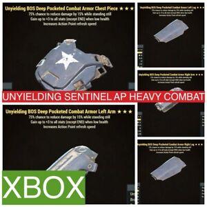 UNYIELDING SENTINEL AP HEAVY COMBAT ARMOR FULL SET XBOX FO 76 UNY SENT BLOODIED