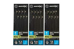 """Matrix MXC-3 Bait Banded Rigs Eyed Barbless (4"""" 10cm)"""