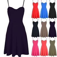 Womens Ladies Strappy Sleeveless Top Padded Cami Flare Skater Swing Mini Dress