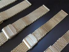 GOLD PLATED MESH BRACELET SHARK BAND METAL STRAP TO FIT YOUR DIVE WATCH