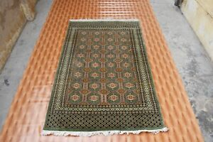 Oriental Area Rug Hand Knotted 4x6 Geometric Design Wool Carpet Green Pink Color