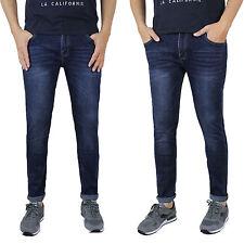 Jeans Uomo Casual Slim Fit Pantalone 5 Tasche Blu Denim Skinny Elasticizzato