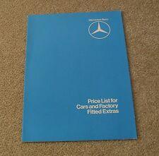 Mercedes Price Guide 1980 W123 Saloon CE Coupe Estate W126 SEL R107 SL