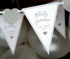 CONFIRMATION BANNER BUNTING SILVER PERSONALISED COMMUNION PRESENT HEART DECS