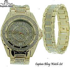 New Men's Hip Hop Watch New Designer Style Elegant Look Watch & Bracelet #1A-GLD
