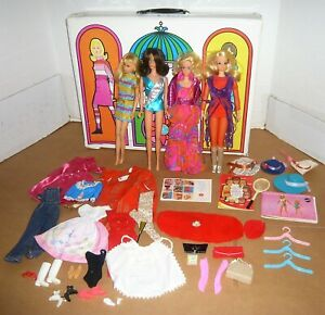 VINTAGE LIVE ACTION PJ,FLIP HAIR BARBIE,TNT FRANCIE,& TNT BARBIE DOLLS W/CASE
