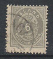 Iceland - 1896/1900, 6a Grey stamp - Perf 12 1/2 - F/U - SG 29 or 29a (b)