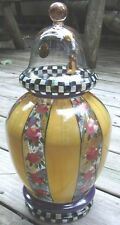 "MACKENZIE CHILDS HAND PAINTED GARLAND APOTHECARY JAR~13.75"" HIGH~NEW"