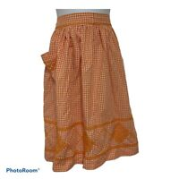Vintage Orange White Gingham Checkered Embroidered Waist Apron 1950's Retro