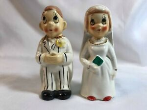 Bride & Groom Salt & Pepper Shakers Before & After Marriage Vintage 1950's
