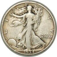 1934-S 50C Walking Liberty Silver Half Dollar  VF    (052719-8)