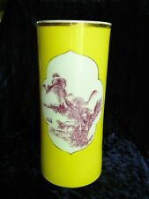 Antique Chinese Qing Dynasty Porcelain Brush Pot / Vase in Royal Yellow Color.
