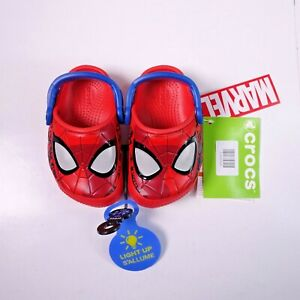Size 5 Toddler Kid's Crocs Fun Lab Spiderman Lights Light-Up Clogs Flame Red
