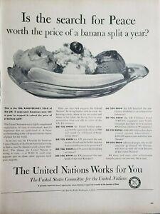 Vintage United Nations Print Ad  Ephemera Art Decor Banana Split