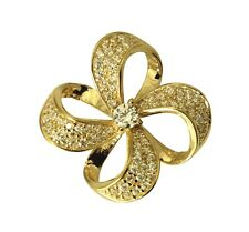 14K Real Yellow Gold Flower Charm Pendant Cubic Zirconia