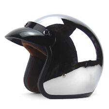 Motorcycle Helmet Retro Vintage Cruiser Chopper Metallic Silver Plating Casco
