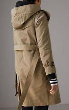 Burberry Detachable Hood Taffeta Trench Coat in Sisal Women Size 10