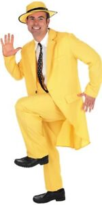 """Yellow 80s """"The Mask"""" Style Suit Adult Male Size Large"""