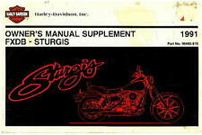 1991 Harley Davidson Fxdb Motorcycle Owners Manual Supplement : 99460-91S