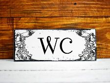 WC Restroom Toilet Sign Plaque Distressed Wooden Door Hanging Shabby Chic