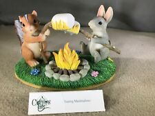 "Fitz & Floyd Charming Tails Figurine ""Toasting Marshmallows"" #83/700 Box"