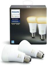 2 Pack Philips Hue White Ambiance A19 Smart LED Wireless Zigbee Light Bulb 60 W